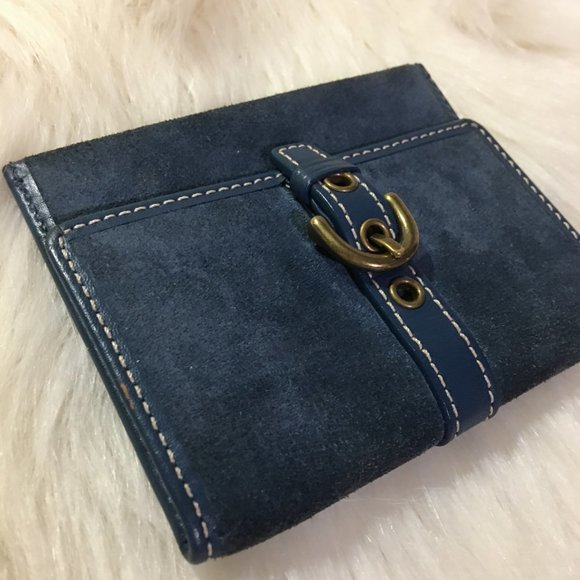 COACH Blue Suede Leather Slim Card Wallet